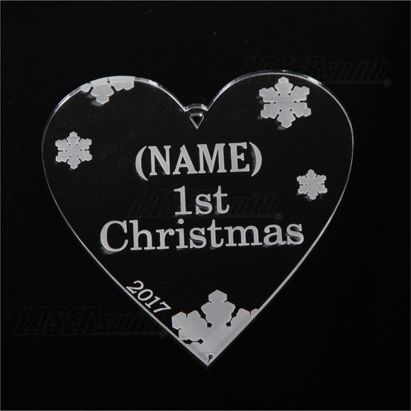 Personalised Acrylic Christmas Tree Decoration - Baby's 1st Christmas Heart