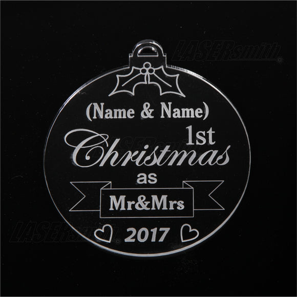 Personalised Acrylic Christmas Tree Decoration - Mr & Mrs Bauble
