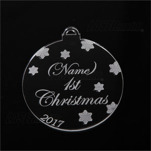 Personalised Acrylic Christmas Tree Decoration - Baby's 1st Christmas Bauble