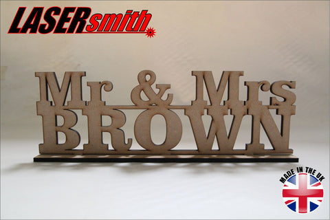 Mr & Mrs 'Your Name' Table Top Sign