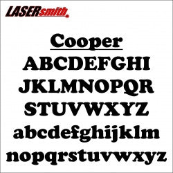 Cooper Font Letters and Numbers