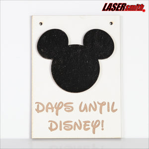 Days Until Disney Chalkboard Countdown Hanging Plaque Sign for Holiday