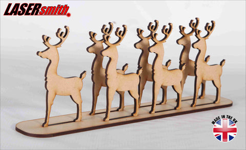 Set of 7 Free Standing Reindeer
