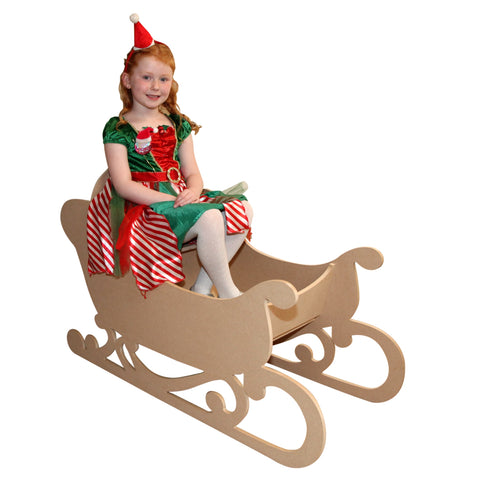 Santa's Sleigh MDF Large Wooden Freestanding & to sit in Christmas 2 sizes