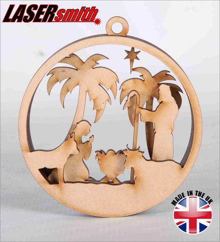 Layered Nativity Christmas Bauble