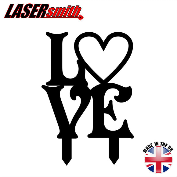 'Love' Black Acrylic Cake Topper - 100mm (4