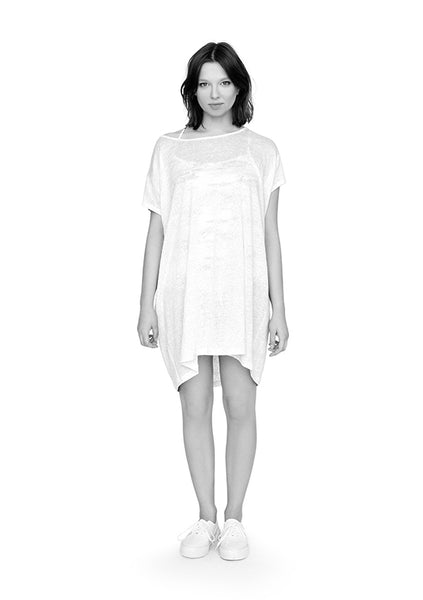 Linen lightweight tunic dress in white ethical fashion