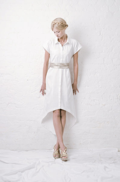 Outsider Maxi Shirt dress white organic cotton ethical fashion