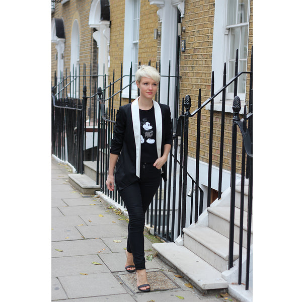 Kate Arnell in Outsider organic wool tux jacket ethical fashion