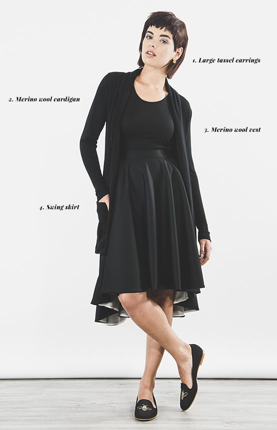 Outsider black cardigan and swing skirt outfit - ethical fashion