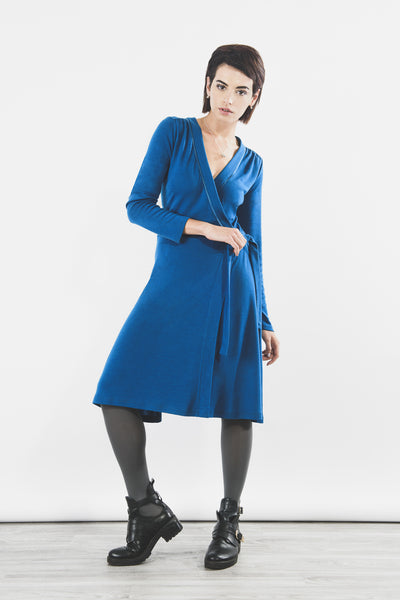 Outsider teal wrap dress in merino wool - ethical fashion