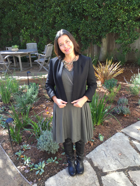 Rachel Sarnoff Mommy Greenest in the Outsider wrap dress is grey
