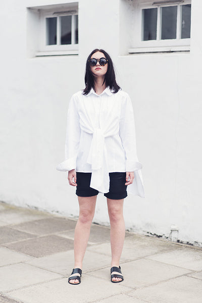 Outsider double layer shirt organic cotton in white