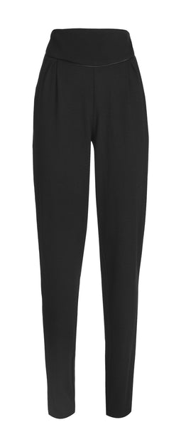 Outsider merino wool trousers in black with satin detail