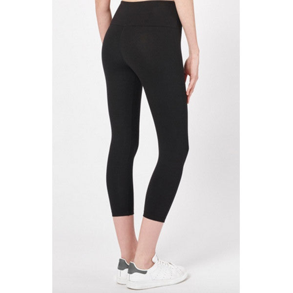 Essential thick bamboo cropped leggings in black