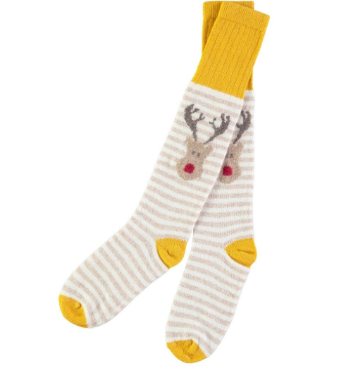 Lambswool Reindeer socks in white and oat stripe