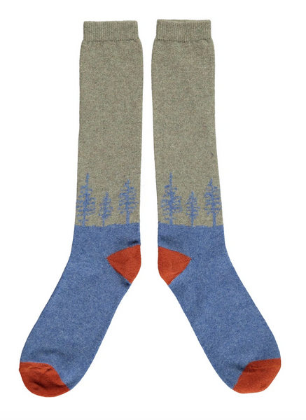 Lambswool knee socks in blue and grey forest design