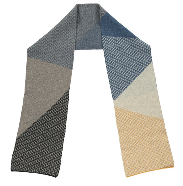 Lambswool pattern colour block scarf