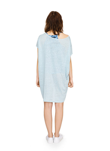 Linen lightweight tunic dress in pale blue