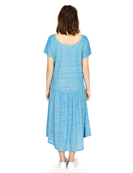 Linen gather detail dress with dipped back hem in blue