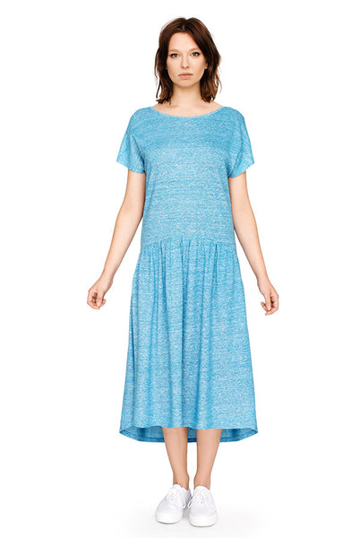 Linen gather detail dress with dipped back hem in blue *L/XL only