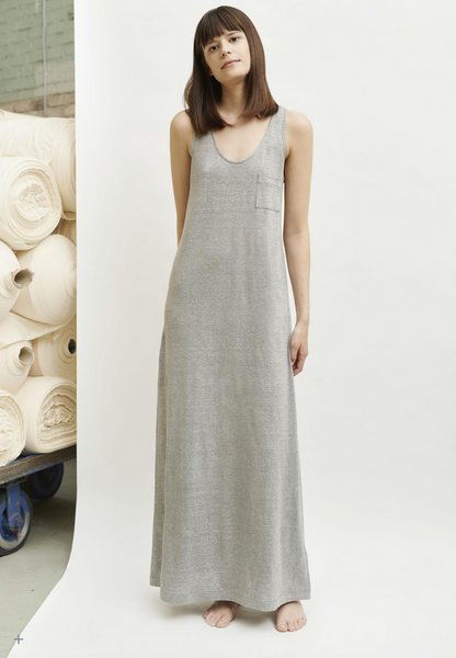 Linen long vest dress in pale grey