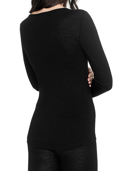 Essential long sleeve merino wool top in black *Last one in XS*
