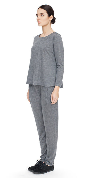 Long sleeved A-line top merino wool tencel in steel grey