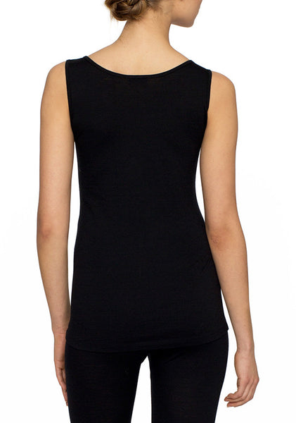 Merino wool vest top in black