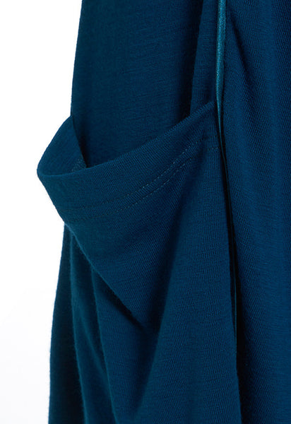 Outsider merino wool satin detail cardigan in teal