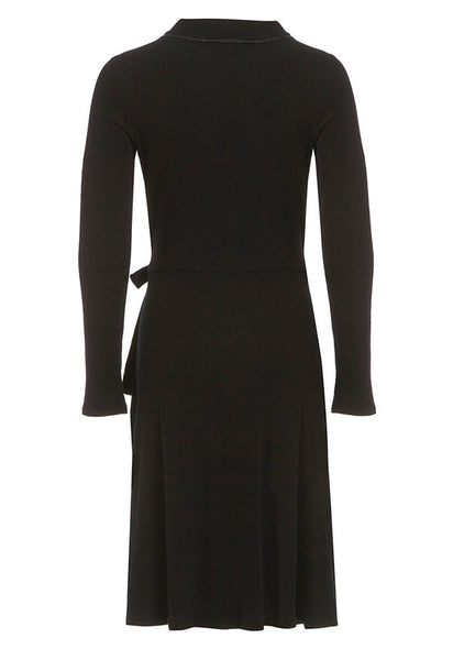 Outsider wrap dress merino wool in black