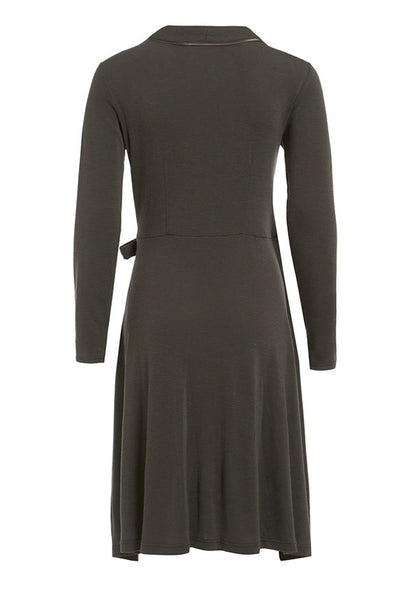 Outsider wrap dress merino wool in grey
