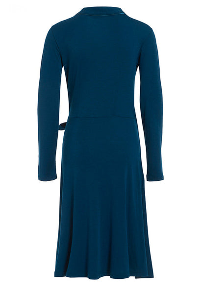 Outsider wrap dress merino wool in teal