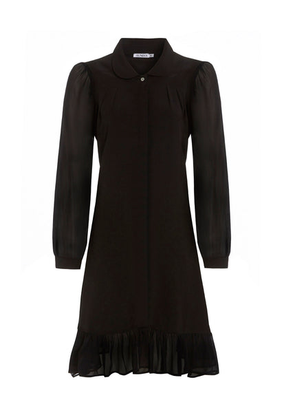 Outsider silk shirt dress with georgette sleeves in black