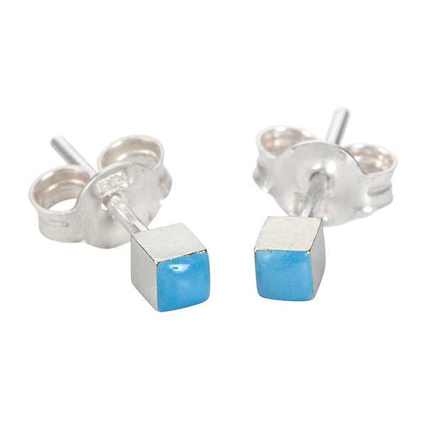 Enamelled cube earring studs in silver and blue
