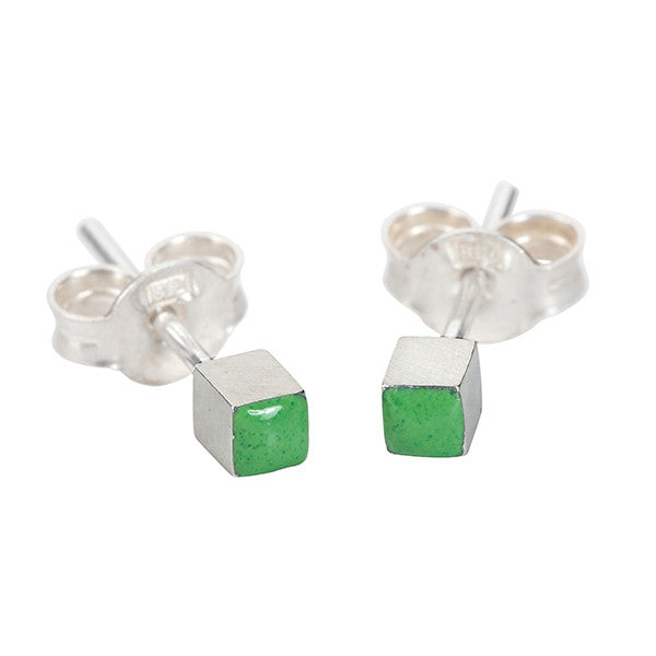 Enamelled cube earring studs in silver and green