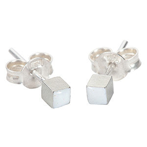 Enamelled cube earring studs in silver and white