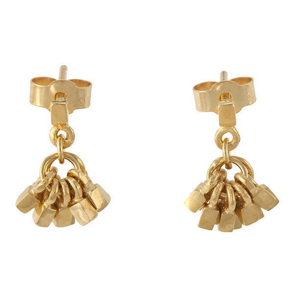 Small 18ct gold plated tassel earrings