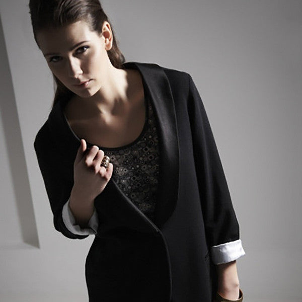Outsider tuxedo blazer jacket merino wool with satin collar