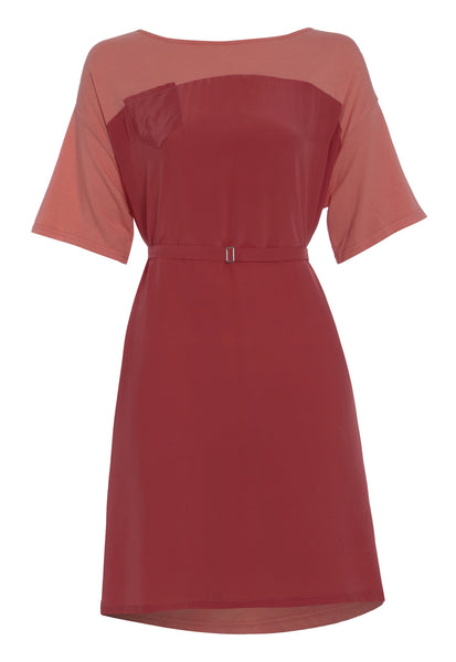 Outsider t-shirt dress with belt in peach