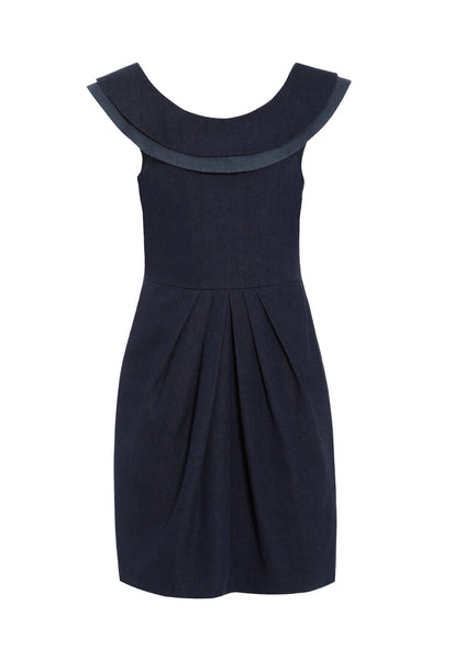 Outsider victory dress organic cotton denim with peace silk