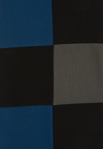Outsider merino wool patchwork scarf in teal, grey and black