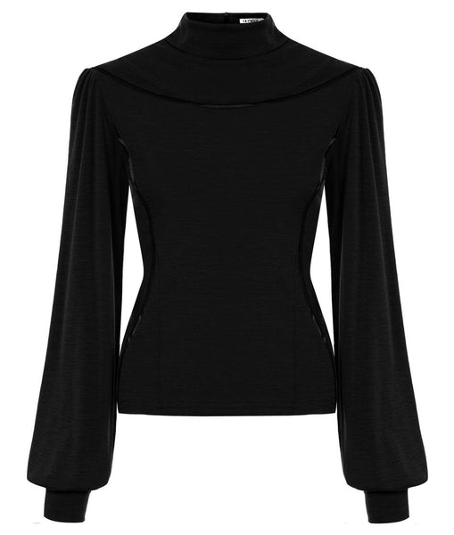 Outsider contour polo neck merino wool in black