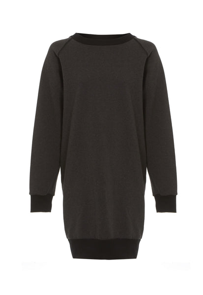 Outsider sweatshirt dress in charcoal grey
