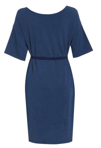 Outsider t-shirt dress with belt in woad dye blue contrast