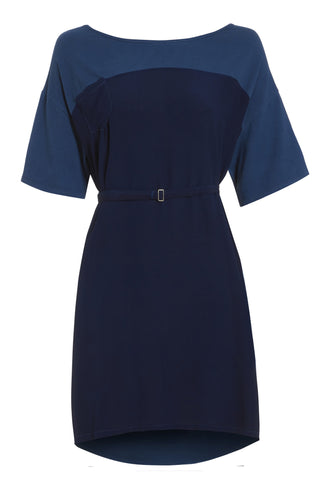 0a2ef431eb4 Outsider t-shirt dress with belt in woad dye blue contrast