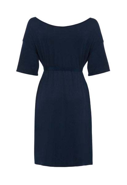 Outsider t-shirt dress with belt in woad dye blue