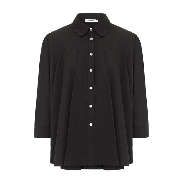 Outsider Trapeze blouse in black organic cotton