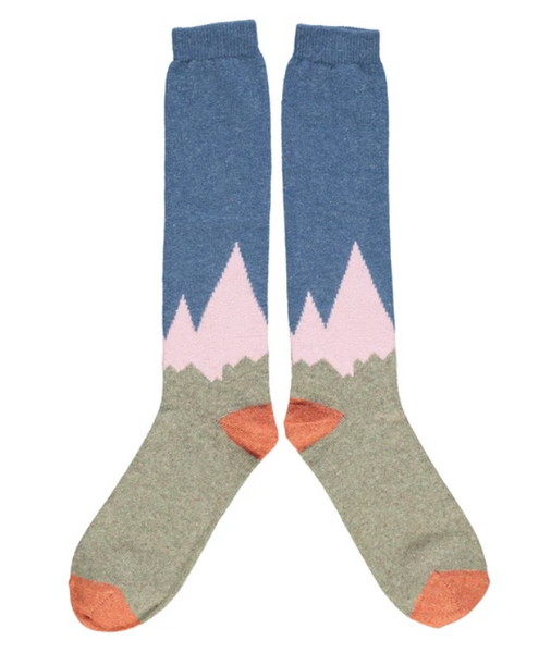 Lambswool knee socks in blue, pink and grey mountain design