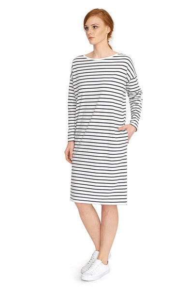 Long sleeve stripe dress in organic cotton